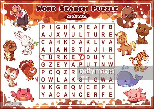 Educational game for kids. Word search puzzle.