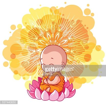 Little meditating monk on the lotus.