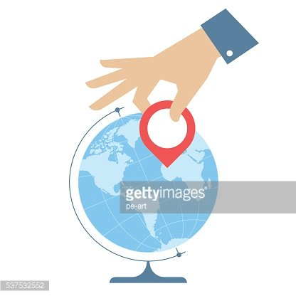 Flat vector illustration of western globe hemisphere and hand