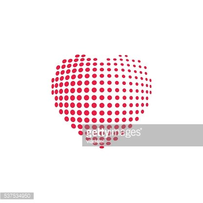 Dotted heart shape vector illustration isolated
