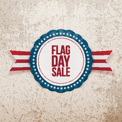 Flag Day Sale realistische Emblem mit Band