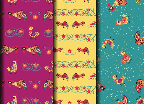 Set retro seamles pattern with rooster, chicken and flower.