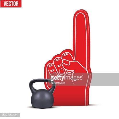 Powerlifting gym Sports Fan Foam Fingers and weight kettlebell