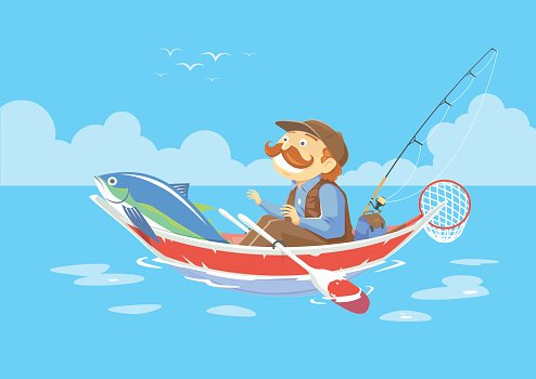 Man Standing Up In A Sinking Fishing Boat On Lake Clipart