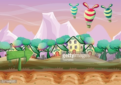 Seamless cartoon vector landscape with separated layers