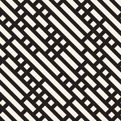 Vector Seamless Black And White Diagonal Rectangle Lines Pattern