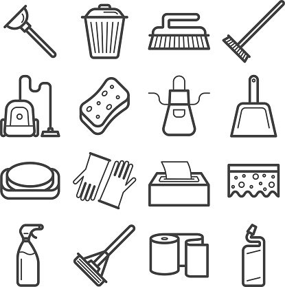 Set of icons of home cleaning.