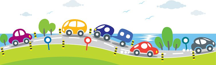 Horizontal Seamless Background Of Cars On The Road Premium Clipart