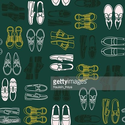 Seamless pattern with flat icons of mens shoes