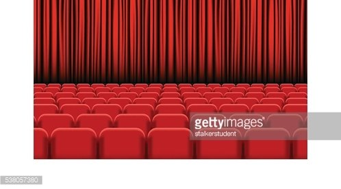 Theater auditorium with rows of red seats