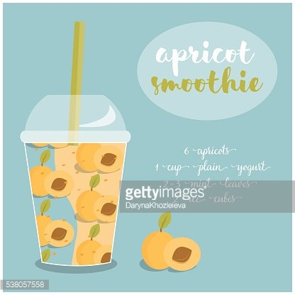 Vector illustration of Apricot Smoothie recipe with ingredients.
