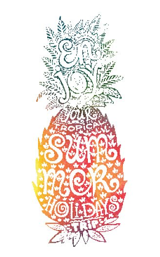 Pineapple colorful. Bright colors hand drawn