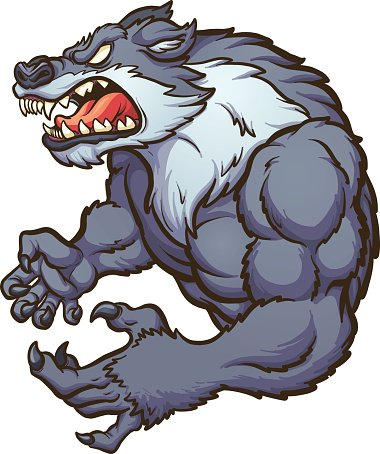 Wolf angry clip art.