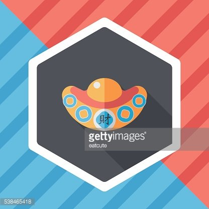 Chinese New Year flat icon with long shadow