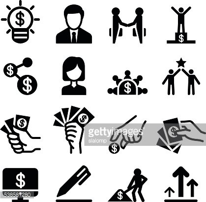 Business success icon set Vector illustration