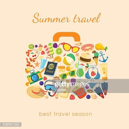 Summer holidays things in a suitcase shape.
