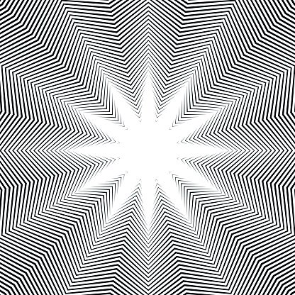 Illusive background with black chaotic lines, moire style.