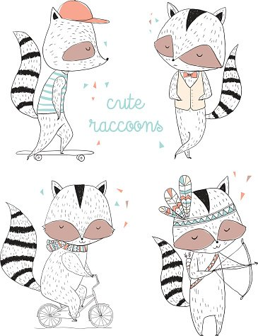 Raccoon characters, cute, illustrations and greeting cards