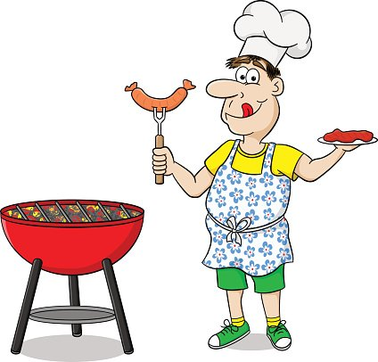 mann mit sch u00fcrze grillen steaks und w u00fcrstchen premium summer picnic clipart black and white summer picnic clip art images