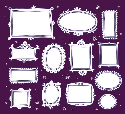 Vector template set of lace white vintage cartoon photo frames