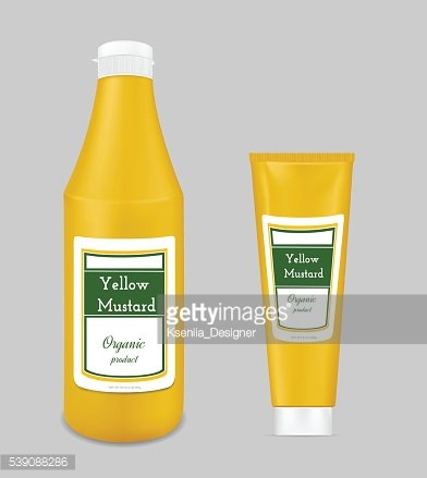 Yellow plastic bottle for sauce and mustard