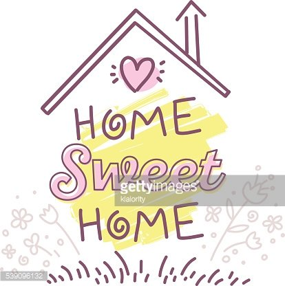 Vector illustration of home sweet home typography lettering