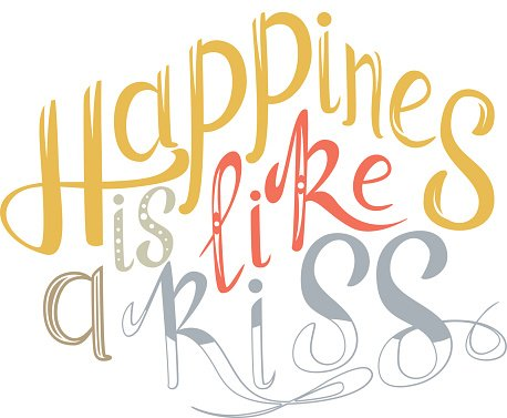 Vector hand drawn lettering. Happines is like a kiss.