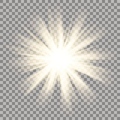 Sun Rays On Transparent Background Star Flare Effect Shinny Sparkle