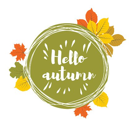 Hand drawn hello autumn leaves Clipart Image