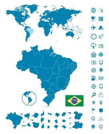 Detailed Map Of Brazil And World Map Navigation Set Premium Clipart