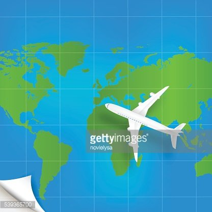 Plane the world map with concept of three-dimensional