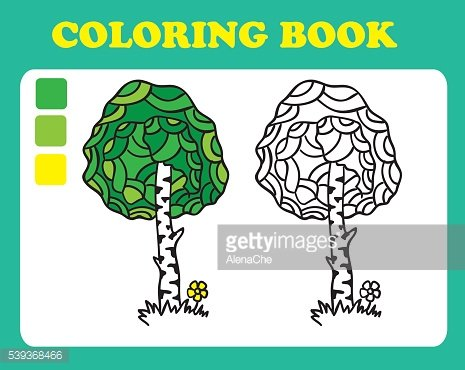 Coloring Book or Page Cartoon Illustration of birch.