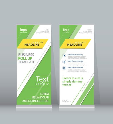 Green Roll UP , X Stand Display Design Template for Business premium ...
