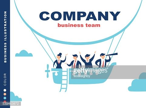 Team of people sailing on ship in the sky.
