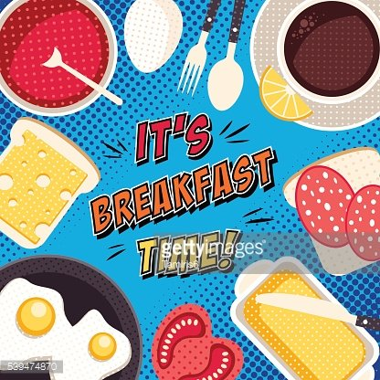 Comic breakfast pop art illustration with food and drinks