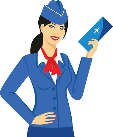 Illustration Of Stewardess Dressed In Blue Uniform With A