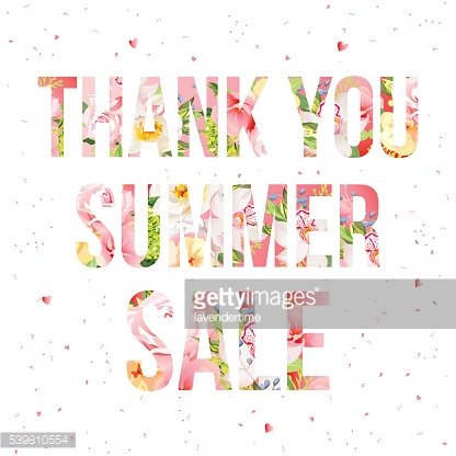 Thank you summer sale floral vector typography. Flower words design.