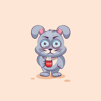 Isolated Emoji Character Cartoon Gray Leveret Nervous With