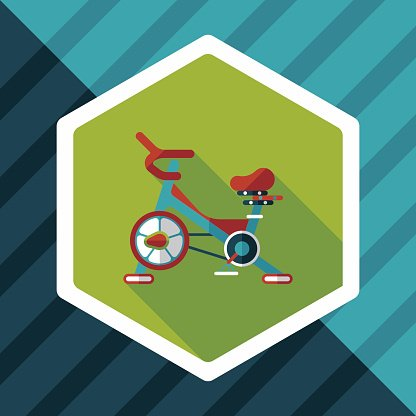 Exercise bike flat icon with long shadow,eps10