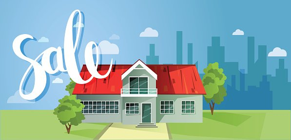 For sale, house. Colorful cottage houses. Flat buildings. Vector