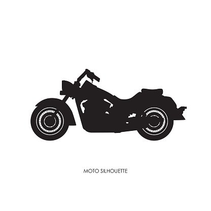Black Silhouette Of A Heavy Motorcycle On A White Background Premium
