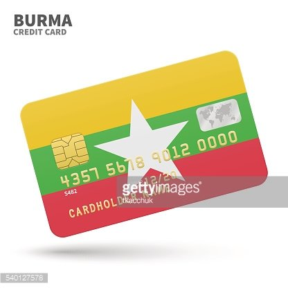 Credit card with Burma flag background for bank, presentations and