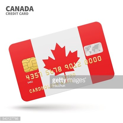 Credit card with Canada flag background for bank, presentations and