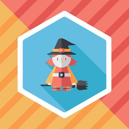 witch flat icon with long shadow,eps10