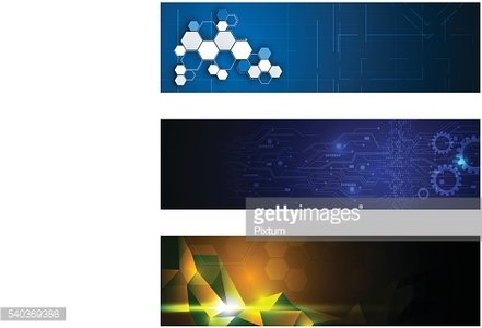 set of 3 banner technology innovation concept design