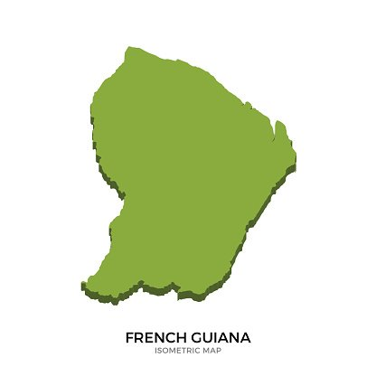 Isometric map of French Guiana detailed vector illustration