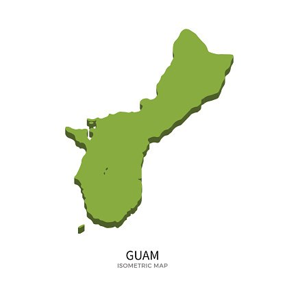 Isometric map of Guam detailed vector illustration