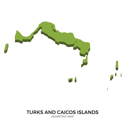 Isometric map of Turks and Caicos Islands detailed vector illustration