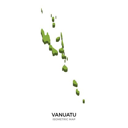 Isometric map of Vanuatu detailed vector illustration