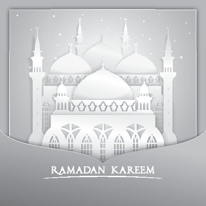 Vector 3D mosque muslim Paper Graphic Greeting Card